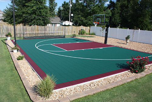 Versacourt basketball court in hunter green and burgundy